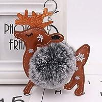 キーホルダークリスマスエルクキーリング化粧バッグペンダントヘアボールキーチェーン、黒
