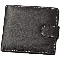 LOZOWO Men Slim Wallet Front Pocket Wallet RFID Blocking Genuine Leather Wallet Bifold Minimalist Credit Card Holder Money Clip