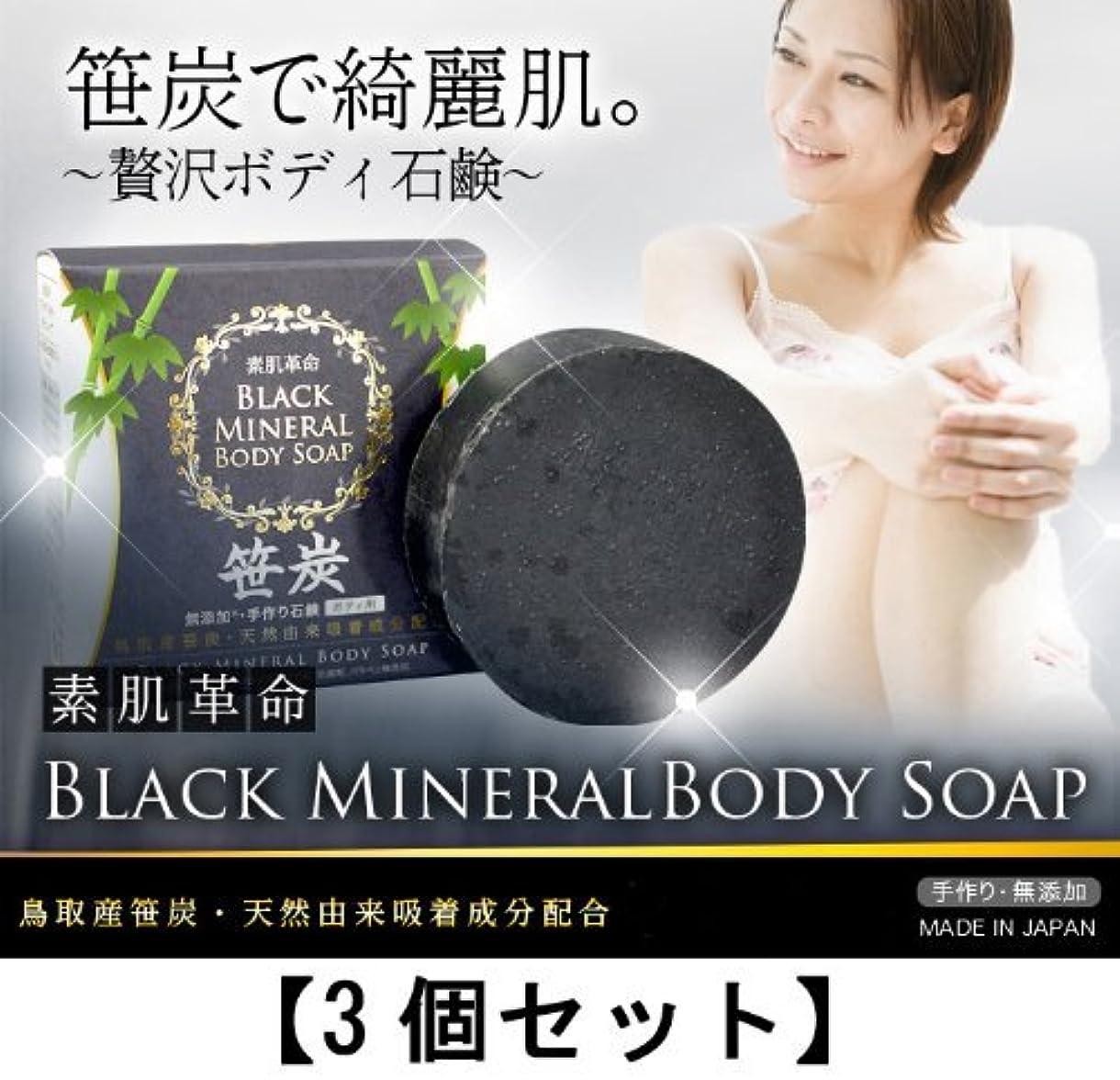 インキュバス老人する素肌革命ブラックミネラルボディソープ 3個セット(天然笹炭配合無添加石鹸)