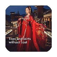 中国風のエレガントなHanfu中国古代および伝統的な民族舞踊の衣装、トップスとスカート、Xlをドレスします。