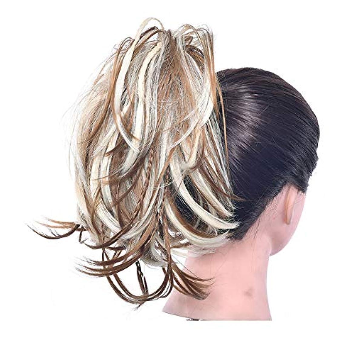 仕様奨学金フリッパーポニーテールシニョンドーナツアップリボンアクセサリー、女性のためのカーリー波状の作品、乱雑な髪のお団子のシュシュ拡張