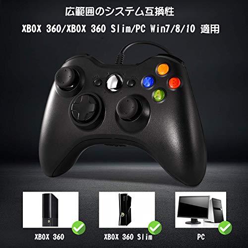 『XBOX360 コントローラー Blitzl PC コントローラー 有線 ゲームパッド ケーブル Windows PC Win7/8/10 人体工学 二重振動』の1枚目の画像
