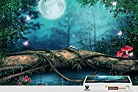 pigbangbang、20.6X 15.1インチ、Stainedアートパズルfor Kids Adult Have Jigsaw接着剤木製–Lake Forest Mushroom Magicalバタフライ–500ピースジグソーパズル