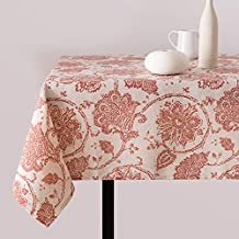 "jinchan Linen Textured Table Cloth Rustic Jacobean Floral Printed Table Cover 51"" Width x 54"" Long (1 Panel, Red)"