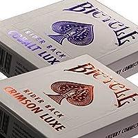 自転車メタルLuxe metalluxe Rider Back Playing Cards 2Decks Crimson Red andコバルトブルー
