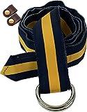 BARRONS?HUNTER ( バロンズハンター ) Dダブルリング リボンベルト Made in USA [牛革製ケーブルバンド2個セット] tm0450 (M, navy x maize)