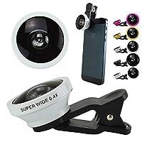 セルカレンズ 自撮りレンズ attach FUN-TA-STICK セルフィーレンズ Clip lens iPhone スマートフォン Xperia アンドロイド 0.4倍超広角レンズ (ホワイト)