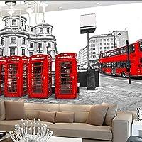Xueshao ロンドン赤バスシティビュー壁紙人格レトロカフェリビングルームの背景3Dの壁壁画壁紙家の装飾-350X250Cm