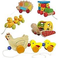 幼児期のゲーム 漫画のダックは、幼児のおもちゃを引っ張って木製の教育玩具(イエロー)
