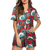 SUNNYME Shorts Pajamas Set for Women Summer Short Sleeve Button Down Sleepwear Nightwear Soft Pj Lounge Sets S-XXL