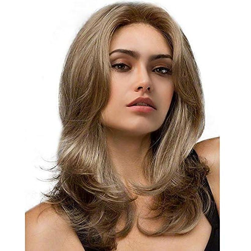 ミシンフリル選出するヘアピース 女性のためのかつらヨーロッパおよびアメリカの金の高級なカールの毛の自然な毛セット