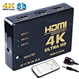 HDMI切替器 3入力1出力 3D映像 4Kx2K 自動手動切換え リモコン付 HDTV DVD AppleTV PC PS3 PS4 Xbox等対応