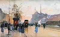 手描き-キャンバスの油絵 - パリ scenes 06 Eugene Galien 芸術 作品 洋画 -サイズ06