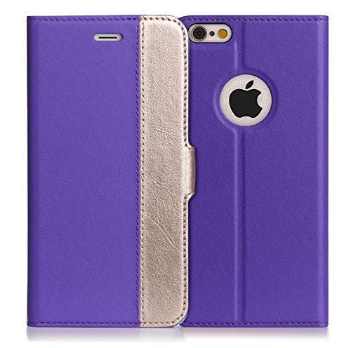 iPhone6s ケース iPhone6ケース ,Fyy ハンドメイド 良質PUレザーケース 手帳型 保護カバー カード収納ホルダー付き スタンド機能付 マグネット式 スマートフォンケース パープルxゴールド