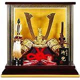 五月人形 兜 ケース飾り 瑞風(純金) 溜塗/金枠 10号 幅40cm [sb-1-3]