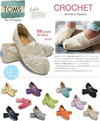 TOMS shoes トムズシューズ スリッポン レディース 春 らしい クロシェ編み デザイン Crochet Womens classics 【 ((W5.5(22.5cm), 01Black)