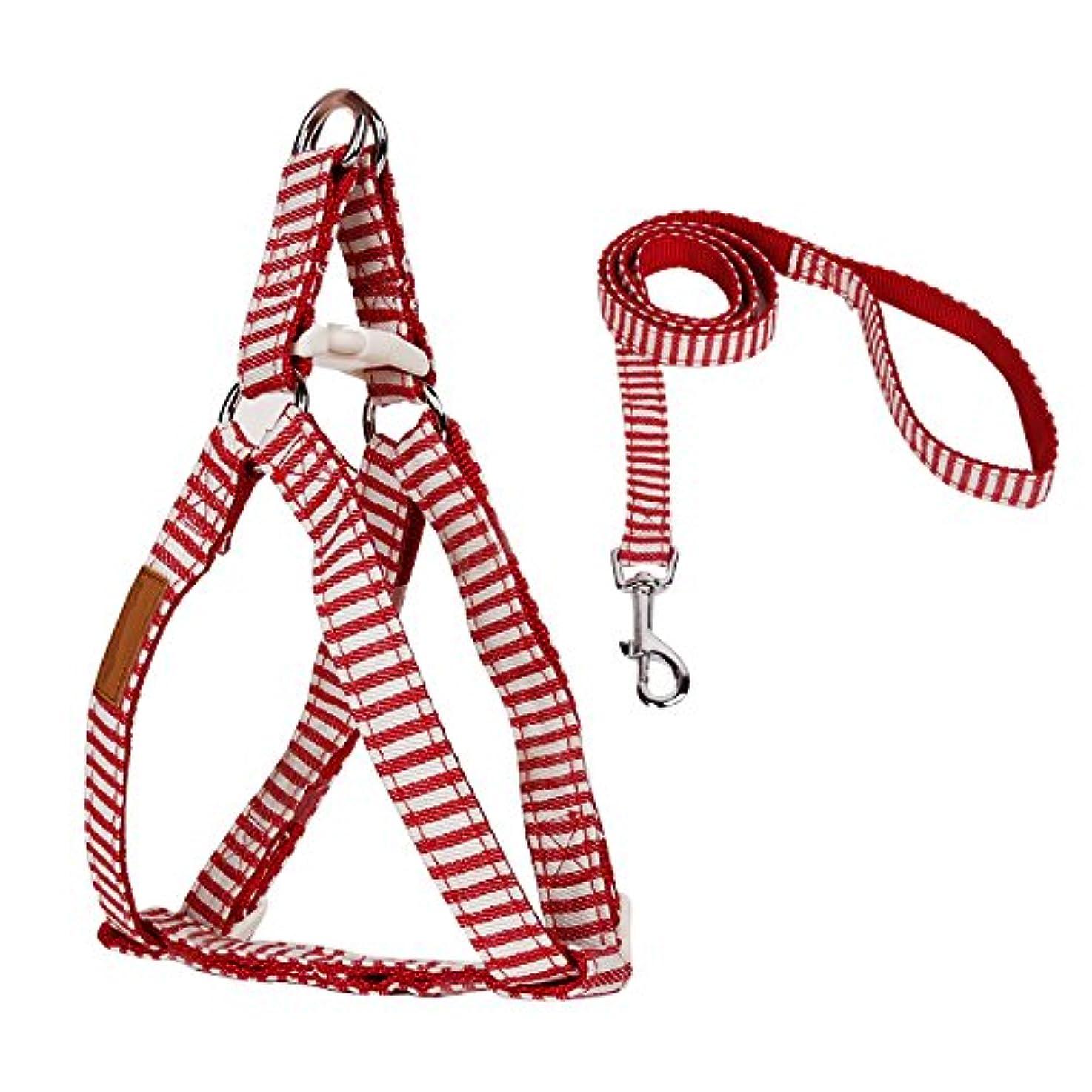 尊敬するイブ服を着る犬 子犬用 ハーネス 散歩綱 お散歩ベスト 全3サイズ2色 実用 耐久性 - Mレッド