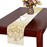 JKDLER テーブルランナー 黄色のアラベスク クロス 食卓カバー 麻綿製 欧米 おしゃれ 16 Inch X 72 Inch (40cm X 182cm) キッチン ダイニング ホーム デコレーション モダン リビング 洗える