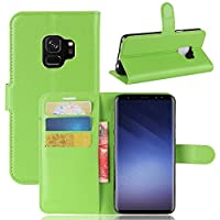 Samsung Galaxy S9 case, Phoebe 新しい Samsung Galaxy S9 新しい Built-in Stand Function for Samsung Galaxy S9 – Green Leather