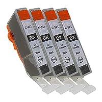 キャノン用(CANON) BCI-320 BCI-320BK(ブラック) 4本セット 互換インクカートリッジ 最新ICチップ 残量表示検知機能付き 説明書付き 365日保証 【PAI MU TAN製】