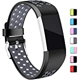 Hotodeal Sport Bands Compatible Charge 3 Bands Waterproof Soft Silicone Breathable Bands for Women Men Charge 3 Accessories, Small Large Size