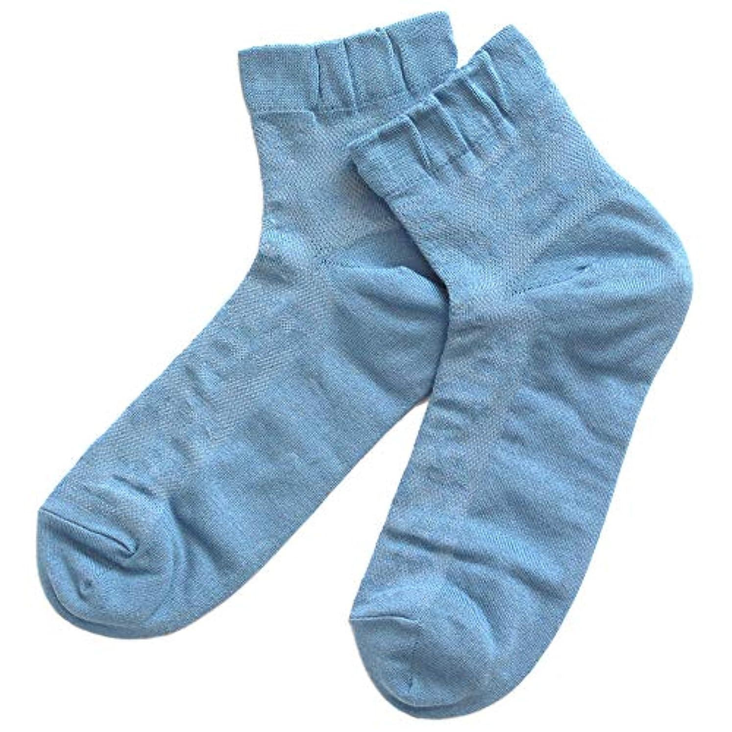 放棄まろやかなながら温むすび かかとケア靴下 【足うら美人メッシュタイプ 女性用 22~24cm ブルー】 ひび割れ ケア 夏用