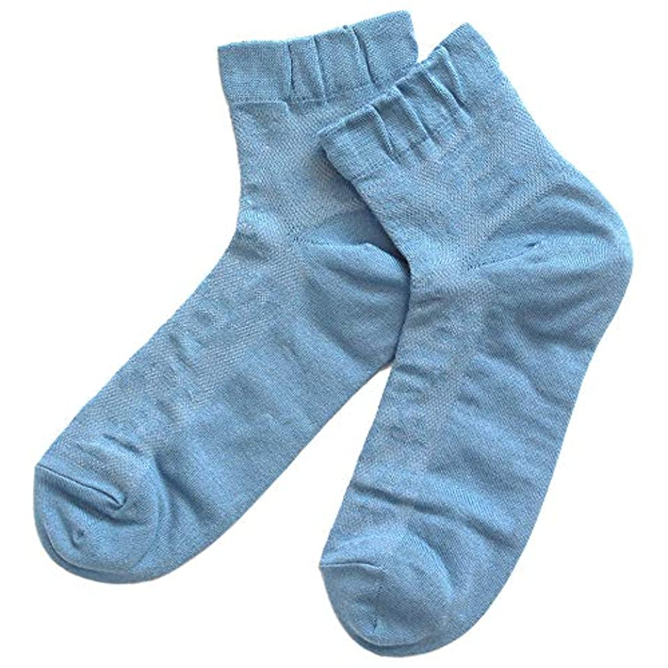 タウポ湖踏み台言い直す温むすび かかとケア靴下 【足うら美人メッシュタイプ 女性用 22~24cm ブルー】 ひび割れ ケア 夏用