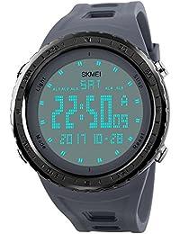 トレンディな男性のデジタルスポーツは、多機能の軍事屋外時計シリコーンゴムのブレスレットの時計を見ます