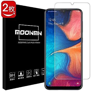 MOONMN【2020最新改良】Galaxy A20 ガラスフィルム日本製旭硝子材 耐衝撃 Galaxy A20 フィルム SC-02M SCV46 2.5D加工 ケースに対応 撥油性 超耐久 耐指紋 Galaxy A20 強化ガラスフィルム (Galaxy A20/2枚入り)