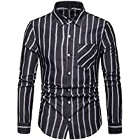 Elegeet Men's Clasic Casual Striped Shirt Long Sleeve Button-Up Cool Shirts