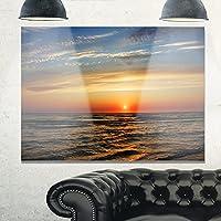Design Art MT10561-40-30 シー&ショアブルーメタルウォールアート、ブルー/オレンジ、40X30