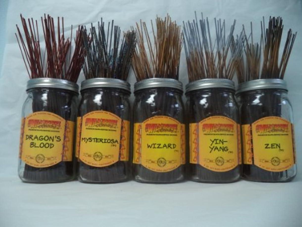 取り出す豆はがきWildberry Incense Sticks Earthy Scentsセット# 3 : 20 Sticks各5の香り、合計100 Sticks 。