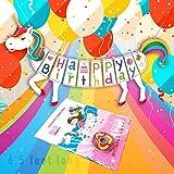 Create4Unicorn Unicorn Happy Birthday Banner - Glitter Finish - Super Cute Unicorn Party Supplies - 6 to 7 Feet Long [並行輸入品]