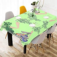 CYDBQ テーブルクロス かわいいうさぎやおいしい野菜 テーブルカバー 食卓カバー コットンリネン 綿 撥水 耐熱 北欧 150*213cm 長方形