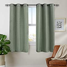 Room Darkening Curtains for Bedroom 63 inches Long Privacy Waffle-Weave Textured Living Room Window Curtain Set Olive 2 panels
