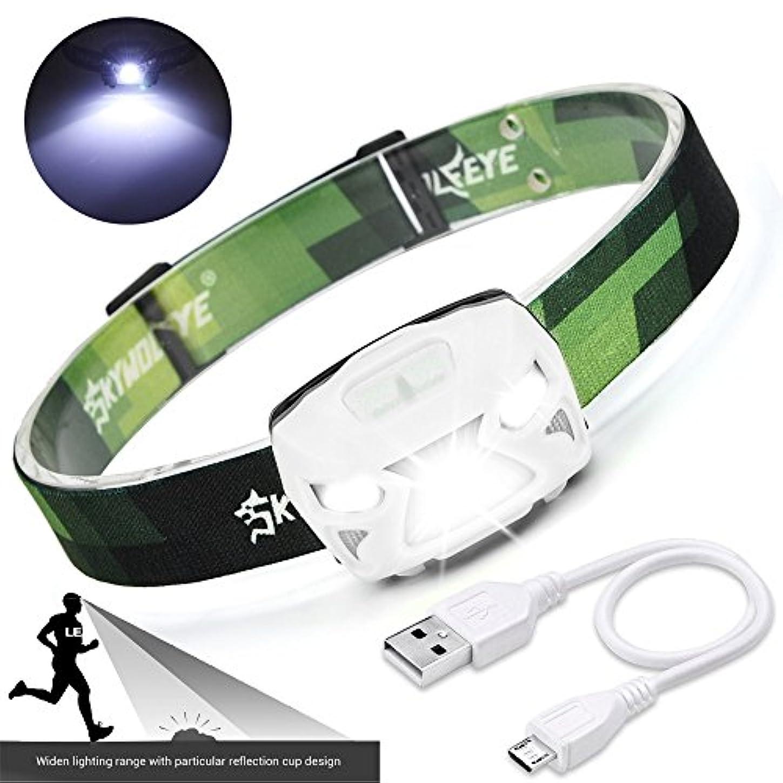 乱闘動作後小型 軽量 LED ヘッドライト USB充電式 実用点灯4-20時間 3点灯モード IPX4防水 自転車 角度調整可 防災用 登山 夜釣り 作業 キャンプ ジョギング 散歩 アウトドア活動等適用