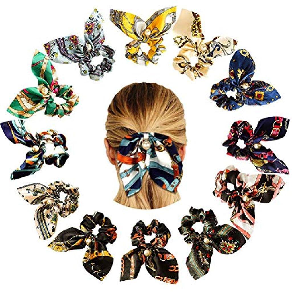 靴下領事館お香Lurrose 12ピースネクタイプリントちょう結びパールヘアバンド女の子用女の子(混色)