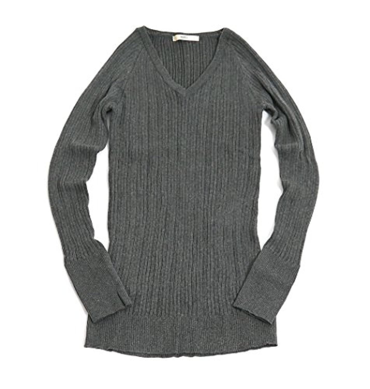 (ナル) NARU 無地 Vネック セーター 1(F) 13.ダークグレー杢 623600