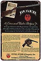 なまけ者雑貨屋 メタルサイン RUGER Over and Under Shotgun ヴィンテージ風 ライセンスプレート メタルプレート ブリキ 看板 アンティーク レトロ