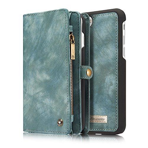 J-KONKY iPhone7Plus用 手帳型ケース 分離式 マグネット式吸着 レザーケース 二つ折り カード11枚 収納 大容量 カードケース ブルー