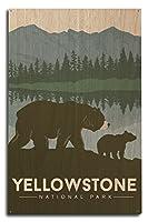 イエローストーン国立公園–Grizzly Bear and Cub 10 x 15 Wood Sign LANT-73546-10x15W
