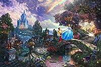 手描き-キャンバスの油絵 - 美術大学の先生直筆 - Cinderella Wishes Upon A Dream Thomas Kinkade LEPS7 - 芸術 作品 絵画 洋画 -サイズ04