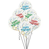 Unique Party 6 Clear 12 Inch Birthday Bright Assorted Confetti Balloons