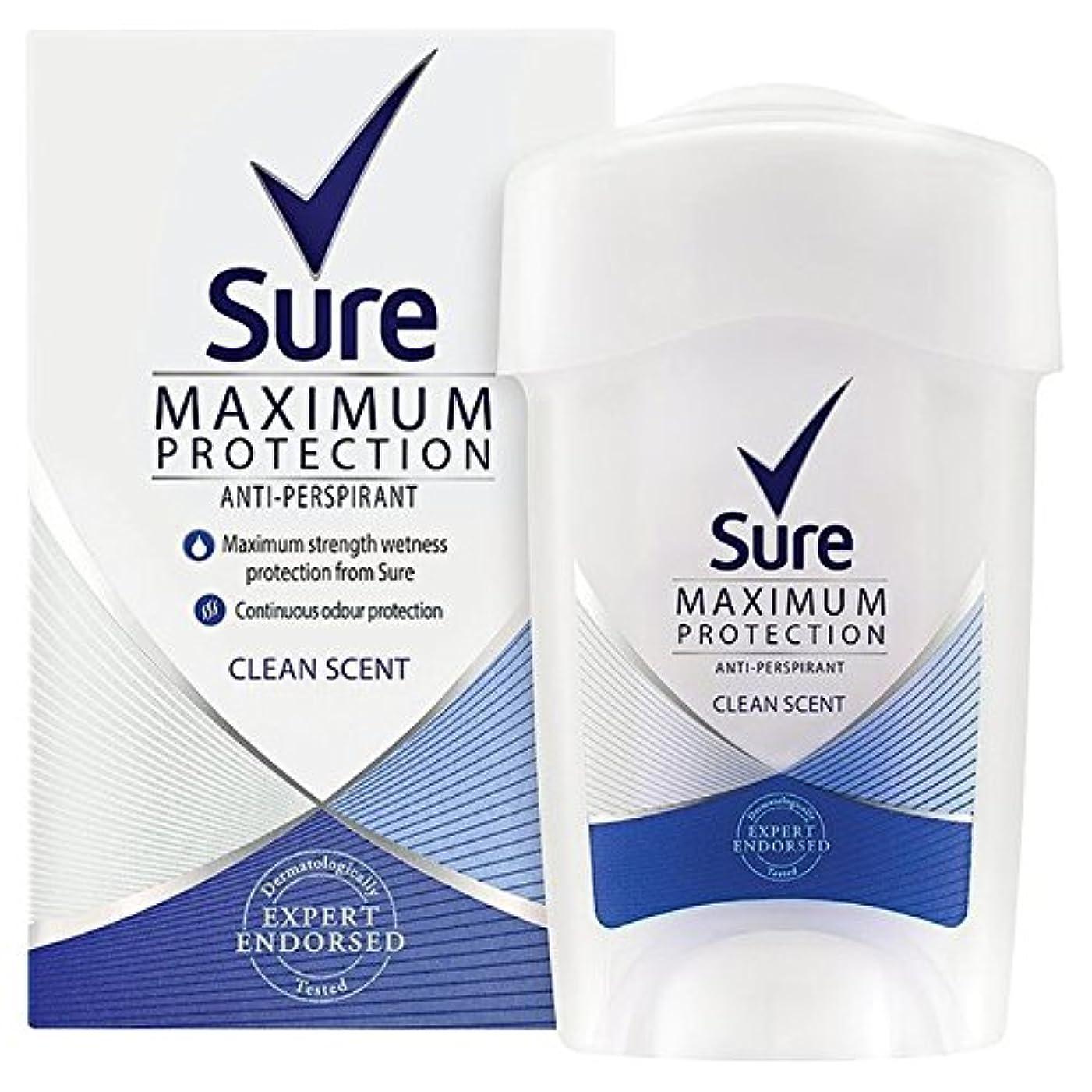 ジム本能間に合わせSure Women Maximum Protection Clean Scent Cream Anti-Perspirant Deodorant 45ml - 女性の最大の保護クリーンな香りのクリーム制汗デオドラント45...