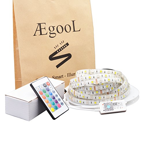 AEGOOL LEDテープ RGBW(昼光色) 防水 5M 300連 Alexa IFTTT Goo...