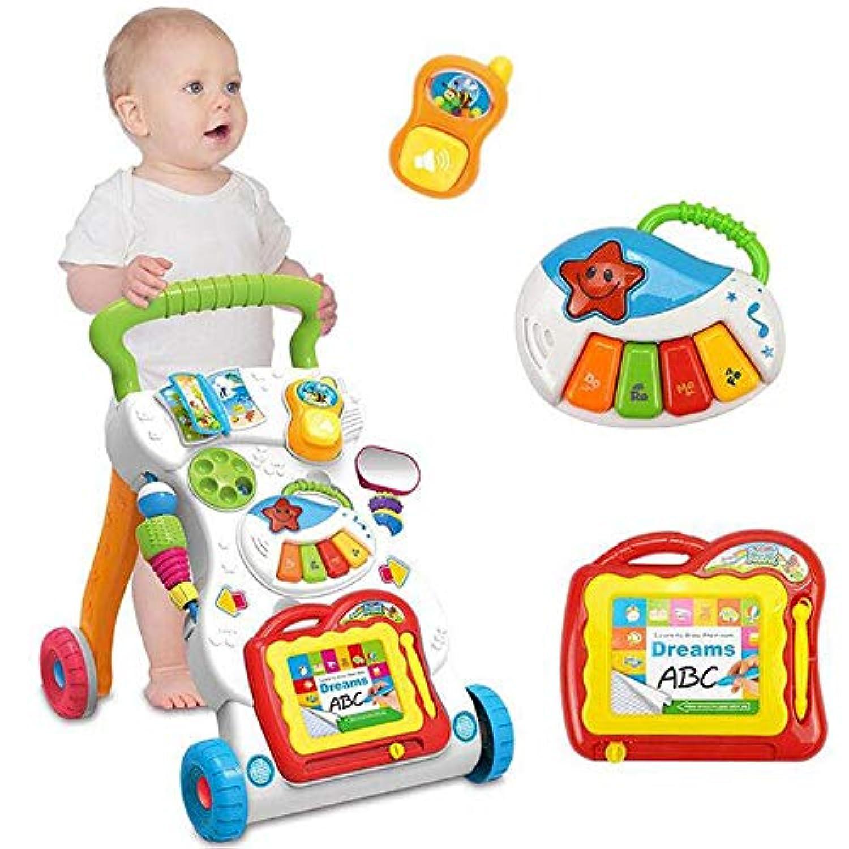 BOLLAER 座って歩く学習ウォーカー 初めての歩数学習ウォーカー 赤ちゃん用 明るい初心者アクティビティウォーカー 調節可能なシート高 赤ちゃん用楽しいおもちゃとアクティビティ