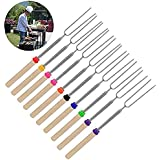 Stainless Steel Telescoping Roasting Sticks Barbecue Forks with Wooden Handle for BBQ Camping, Campfires Set of 10