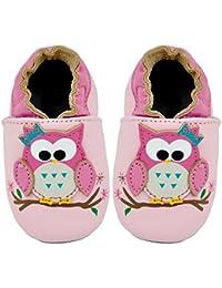 Kimi + Kai Kids Soft Sole Leather Crib Bootie Shoes - Hoot Hoot Owl