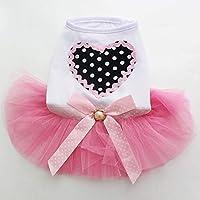 新しい到着の犬王女のドレスの愛のデザイン、ペット子犬のスカートの服、5つのサイズの数3色:紫、S