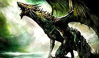 """ゾンビSwampドラゴン# 2TCG Playmat、gamemat 24"""" 14"""" Tallの布サーフェスTradingカードゲームSmoothゴムベース"""